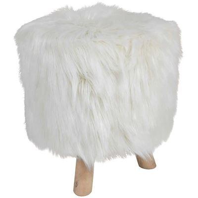 Imagen de Boho White Faux Fur Ottoman *P