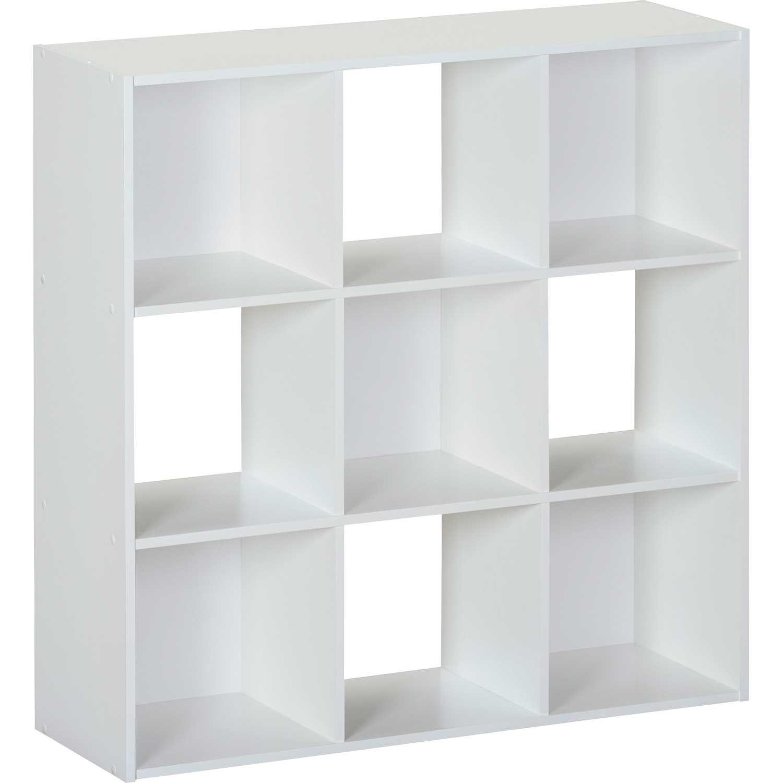 SystemBuild White Nine Cube Storage Bookshelf 7642W   Ameriwood   AFW