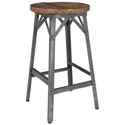 Picture of Iron Stool with Wooden Seat