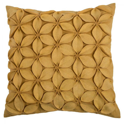 Picture of 18x18 Yellow Felt Petals Decorative Pillow *P