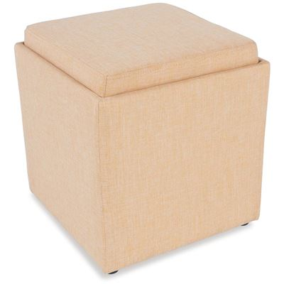 Picture of Yellow Storage Ottoman with Tray