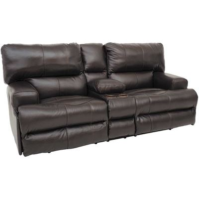 Picture of Wembley Chocolate Italian Leather Reclining Loveseat