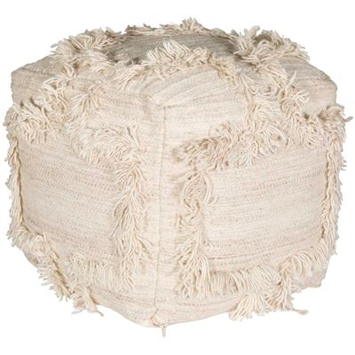 Picture of Lapis Ivory Wool Pouf