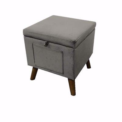 Picture of Grey Velvet Stool