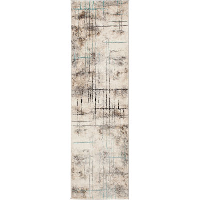 Picture of Rainier Hi Lo Etch Blue Brown 2x7 Rug