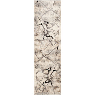 Picture of Grey Beige Crackle 2x7 Rug