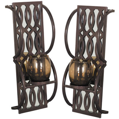 Picture of Set 2 Metal Glass Sconce 48 Inch