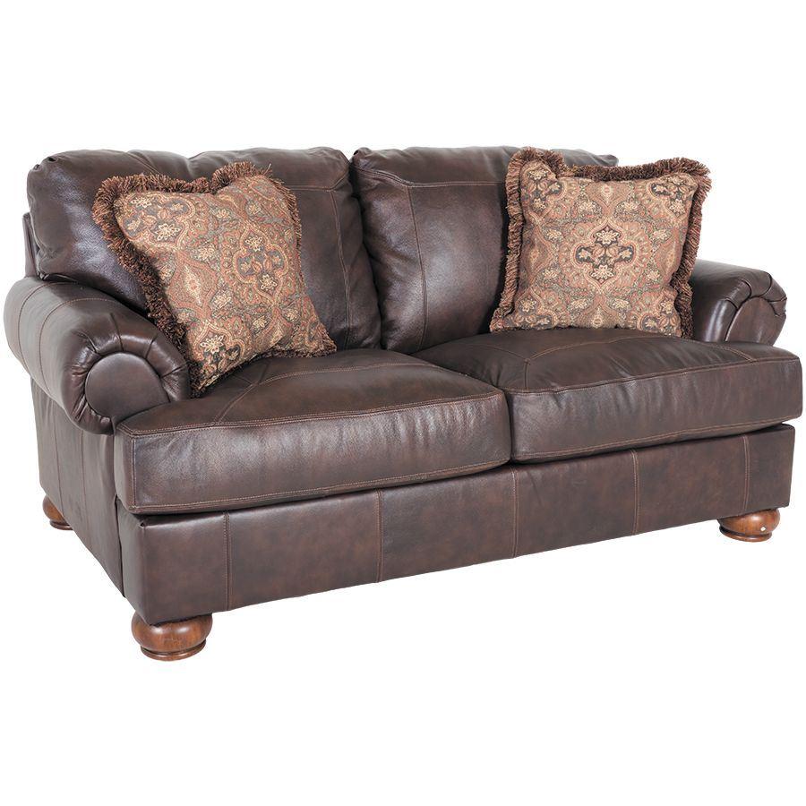 Axiom Walnut All Leather Loveseat 0bb 420l Ashley Furniture Afw