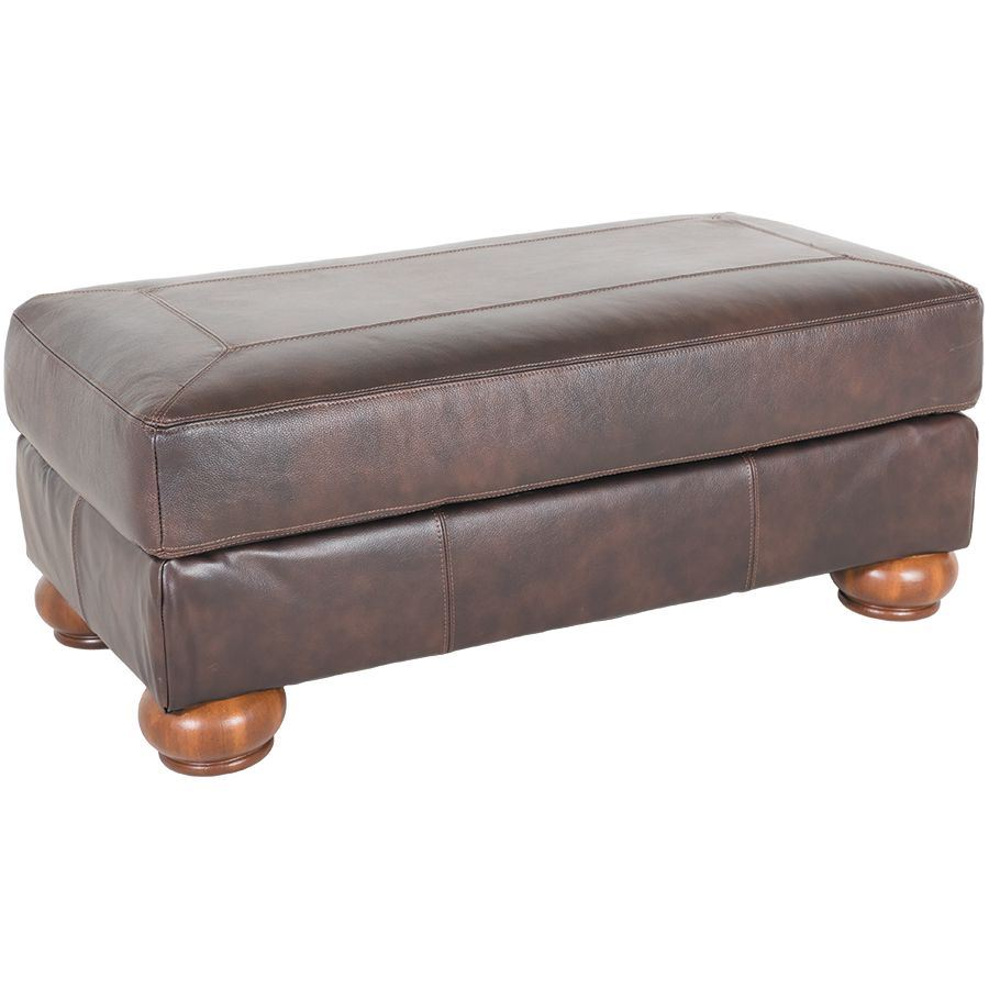 Axiom Walnut All Leather Ottoman 0bb 420o Ashley Furniture 4200014