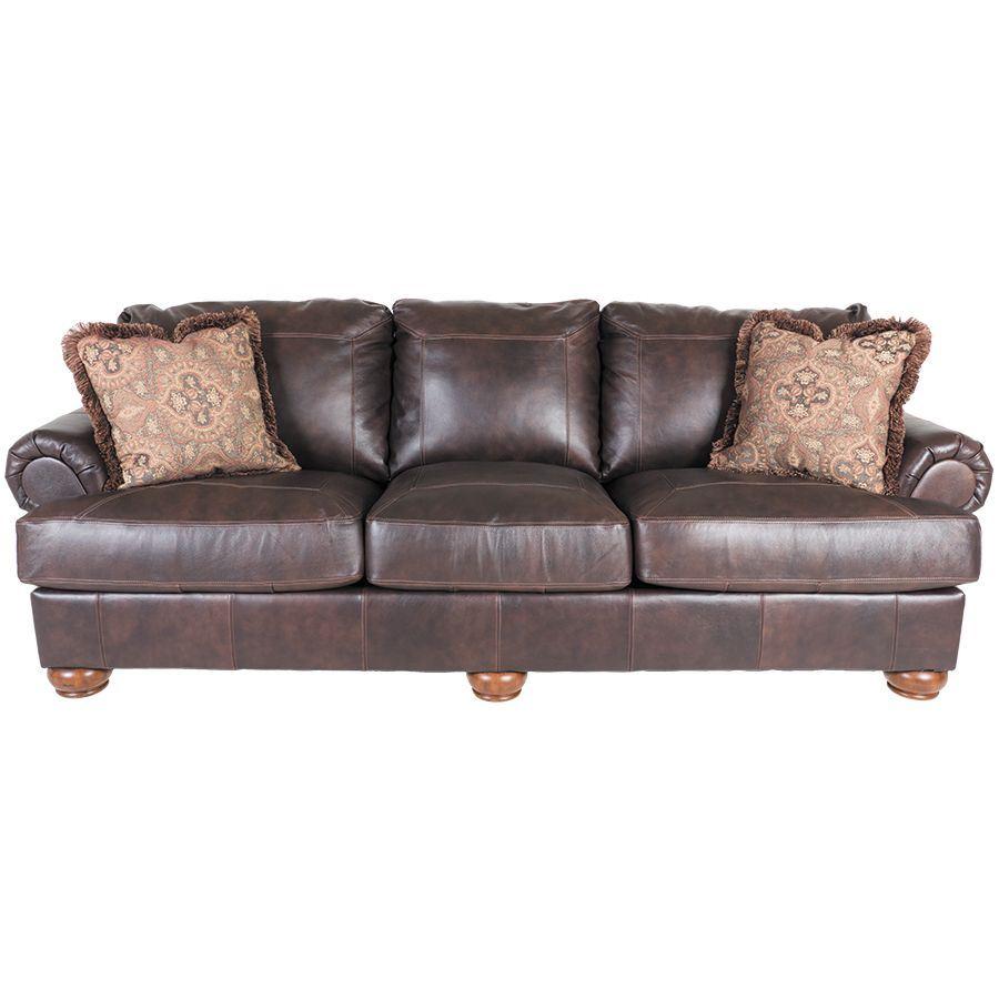 Axiom walnut all leather sofa