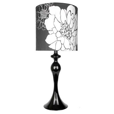 "Picture of 20"" Black Floral Accent Lamp"