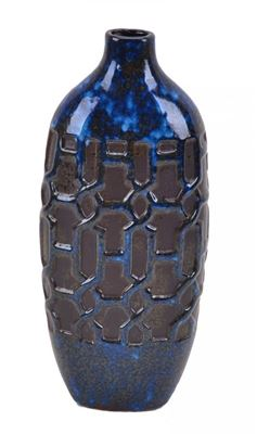Picture of Blue Ceramic Geo Vase