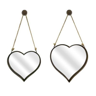 Imagen de Set of 2 Heart Wall Mirrors
