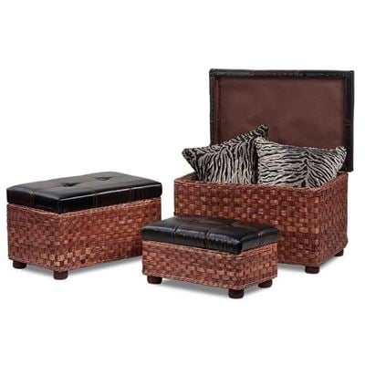 Picture of 3PC Wicker Rattan Ottoman