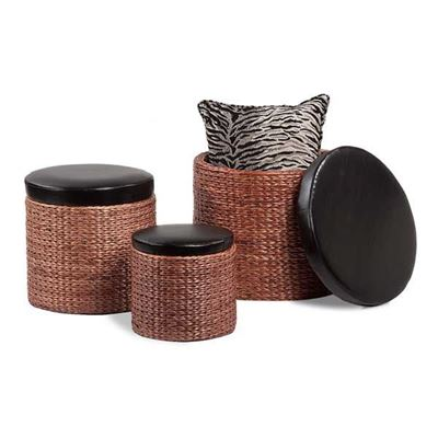 Picture of 3PC Round Wicker Ottoman Set