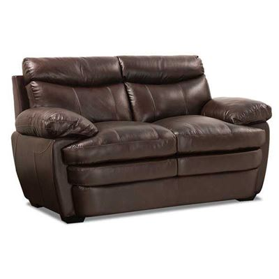 Picture Of Stetson Walnut Leather Loveseat