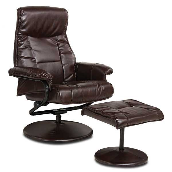 2 Piece Brown Bonded Leather Recliner With Ottoman