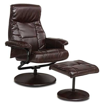 Picture of 2 Piece Brown Bonded Leather Recliner With Ottoman