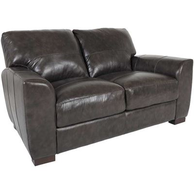 Dark Grey Italian All Leather Loveseat