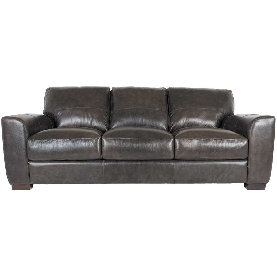 Dark grey italian all leather sofa 1p 4849s soft line afw for Italian leather furniture