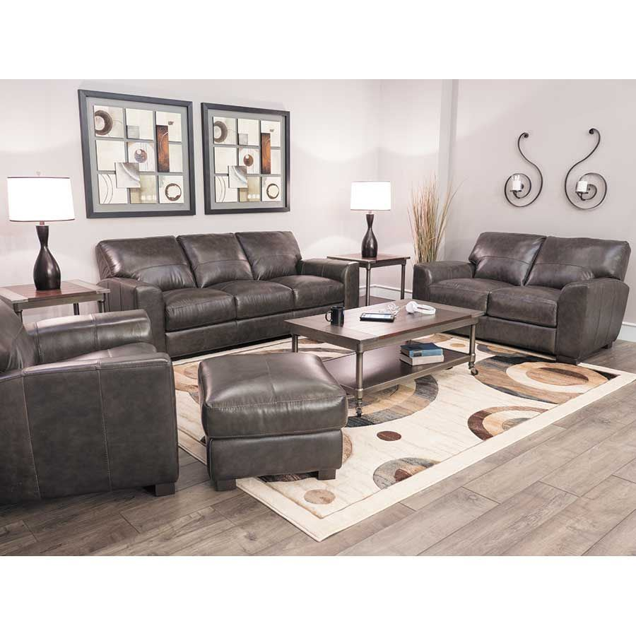 Dark Grey Italian All Leather Sofa 1p 4849s Soft Line Afw