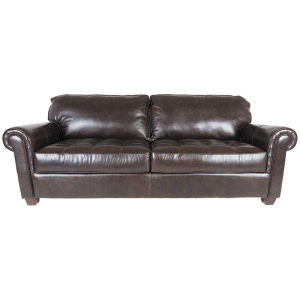 Charmant Cabernet Italian All Leather Sofa