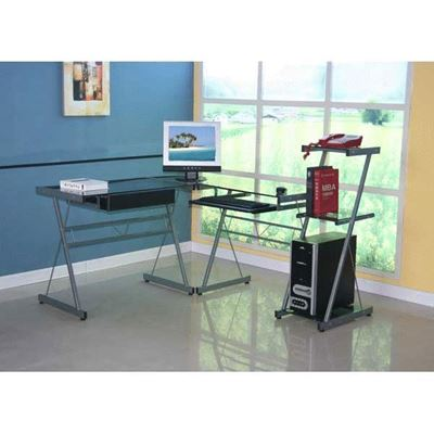 Picture of Glass L-Desk With Bookcase
