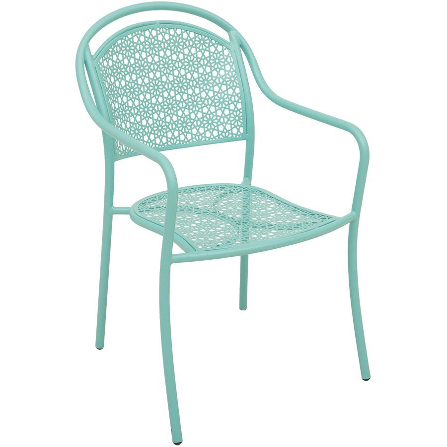 Outdoor Patio Furniture Near My Location: Blue Stackable Patio Arm Chair Z-005