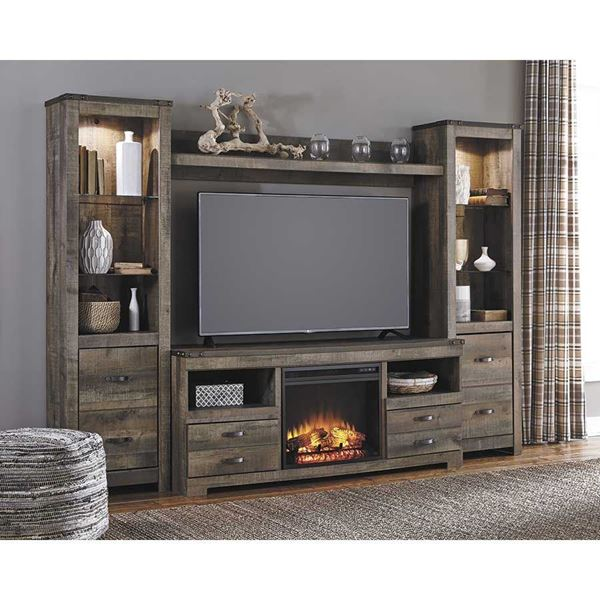 The Trinell Entertainment Wall with Fireplace Console by Ashley adds a rustic feel to your home w/the added warmth of a fireplace.