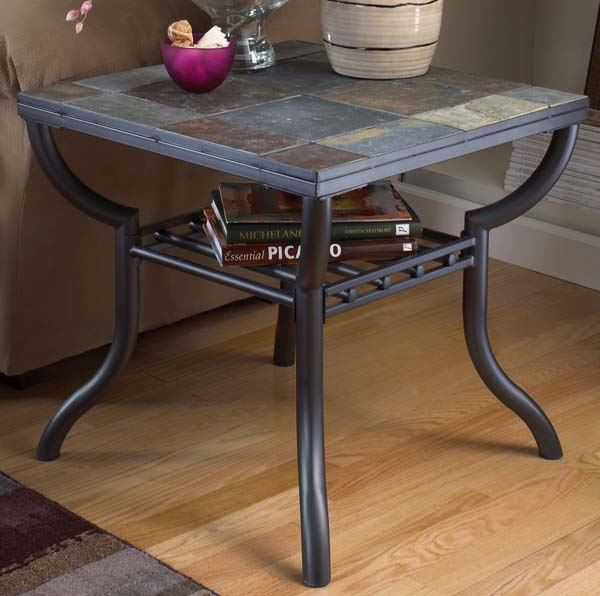 Square End Table Slate And Metal T233 2 American Furniture