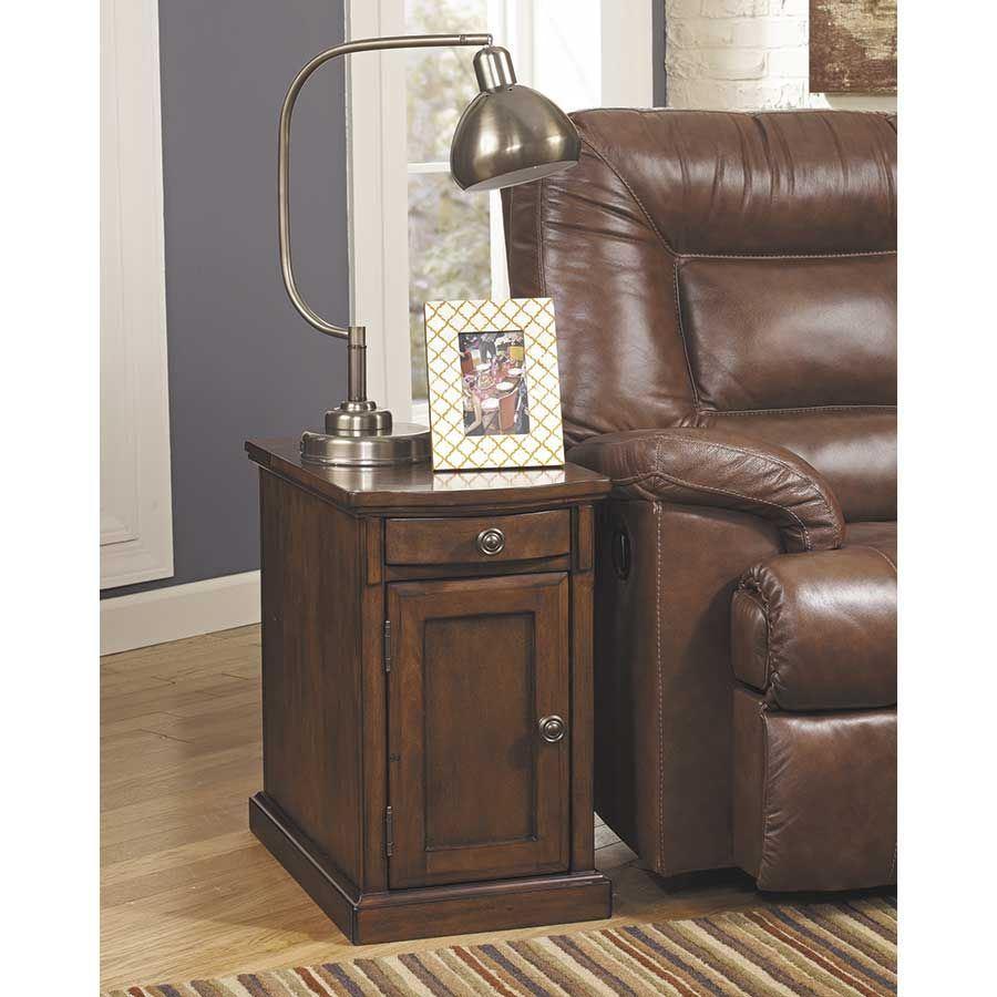 Laflorn Medium Brown Power Chairside End Table Z T127 565