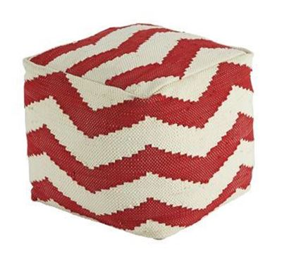 Picture of Red Cube Chevron Pouf *D