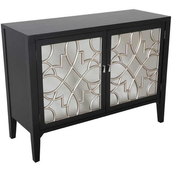 Black Mirrored Accent Cabinet