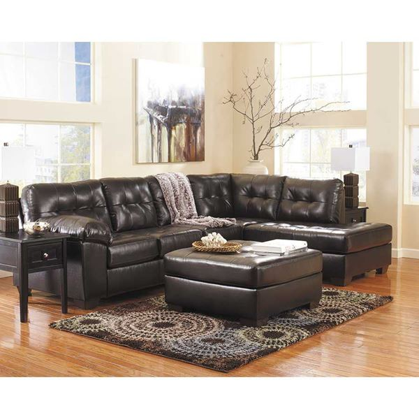 alliston chocolate pc sectional w laf chaise