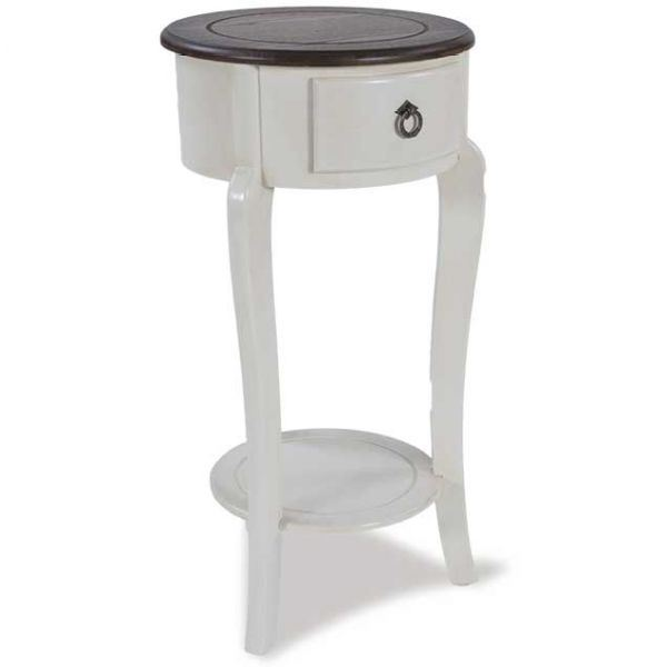 1 Drawer Round White Side Table
