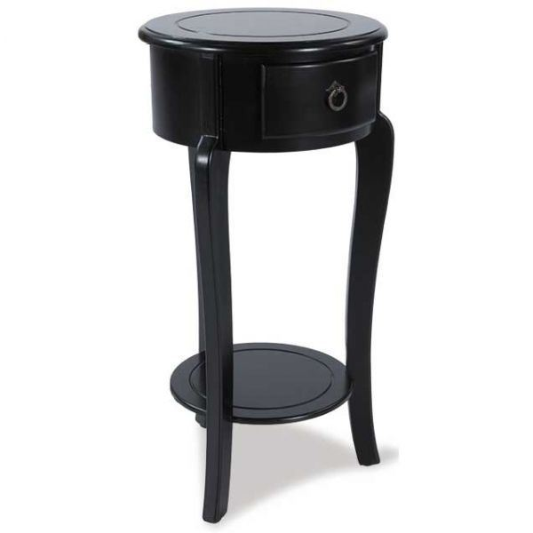 1 Drawer Round Black Side Table