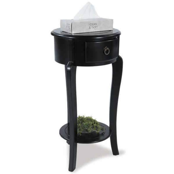 1 Drawer Round Black Side Table A 0179 V15 Y179