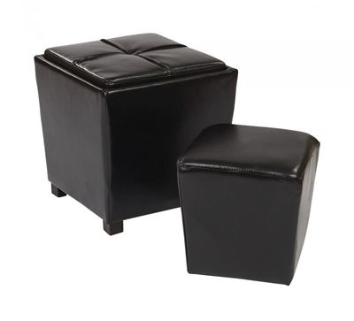 Picture of Black Bonded Leather Ottoman Set *D