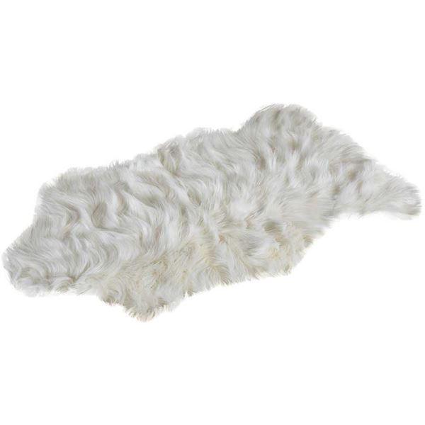 Boho White Faux Fur Throw Rug P