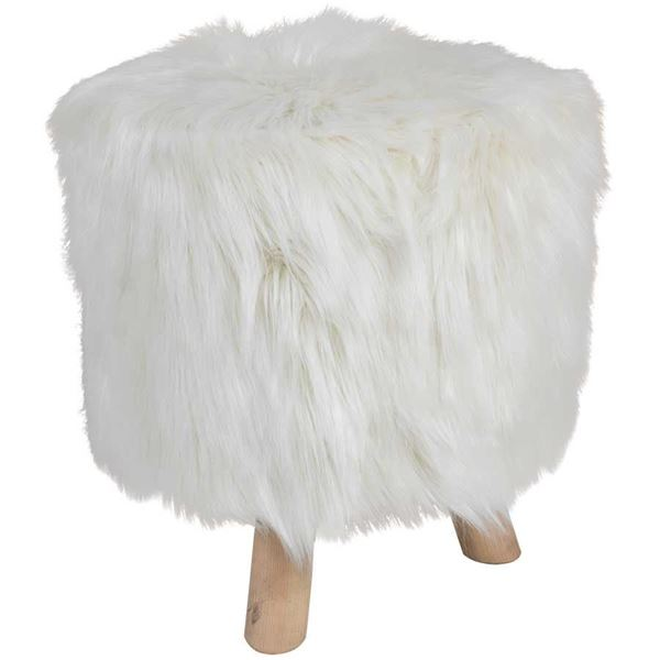 Boho White Faux Fur Ottoman *P - Boho White Faux Fur Ottoman 1A-M1095 HM1095 -8 Cambridge