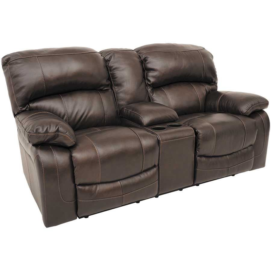 Damacio Leather Reclining Gliding Console Loveseat 0s0