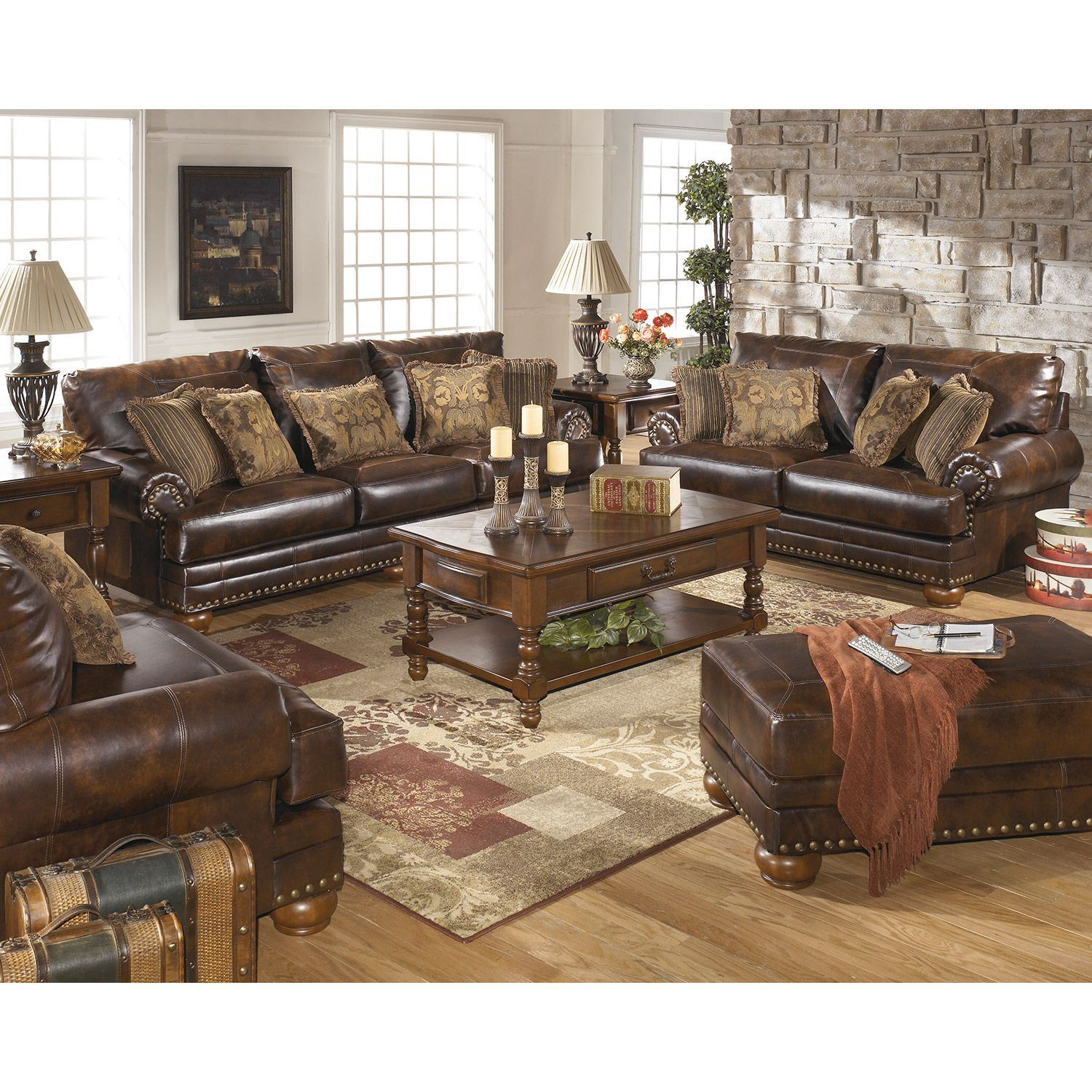 Antique bonded leather loveseat 9920035 ashley furniture afw Ashley home furniture weekly ad