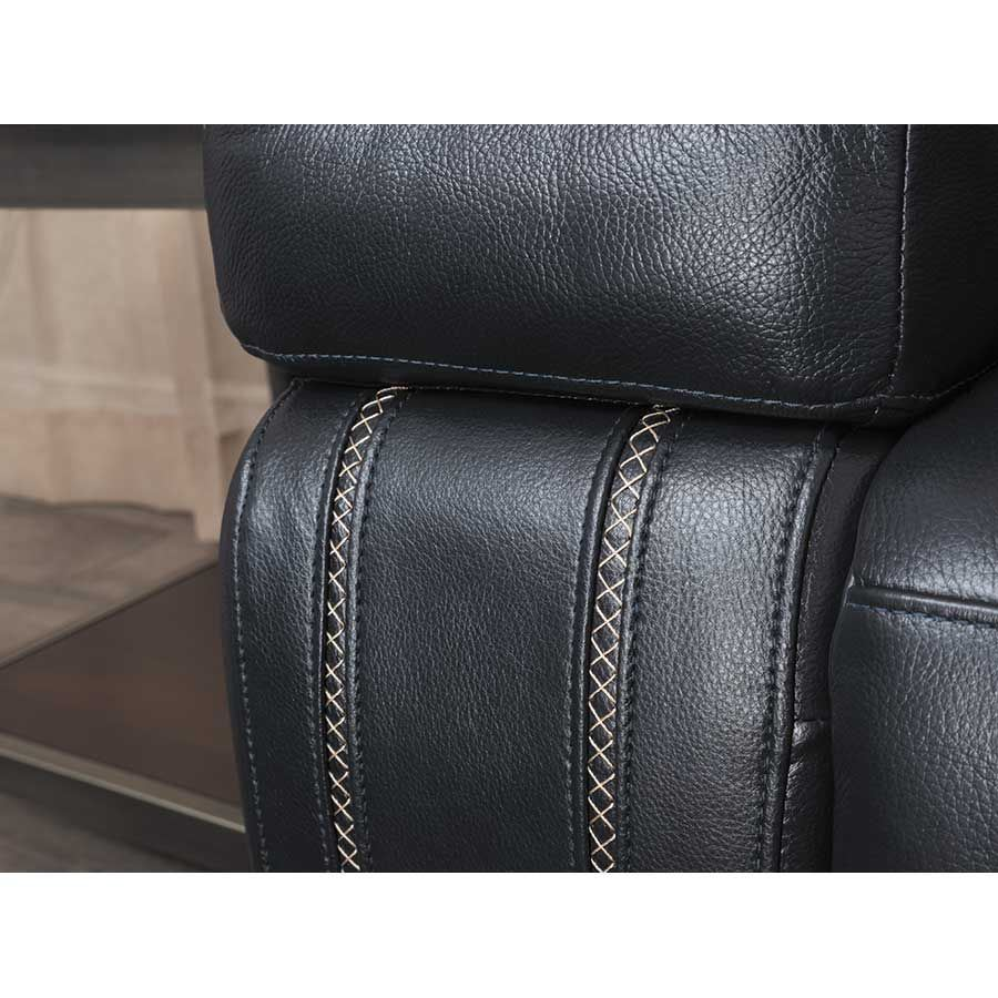 Graford Navy Leather Pwr Headrest Recline Sofa 6470315