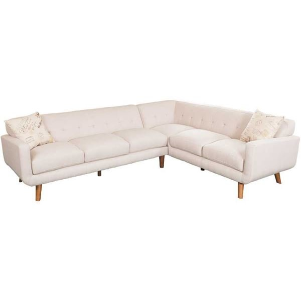 Remix 2pc beige sectional sofa emerald home furnishings for Sectional sofa american furniture warehouse