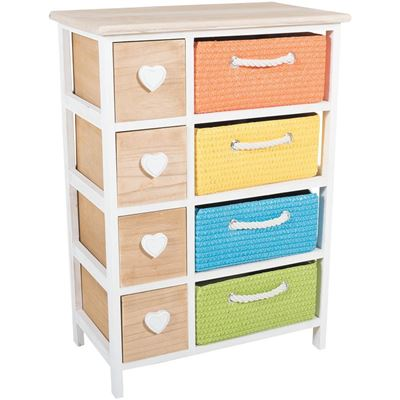 4 Drawer Multi Color Basket Storage