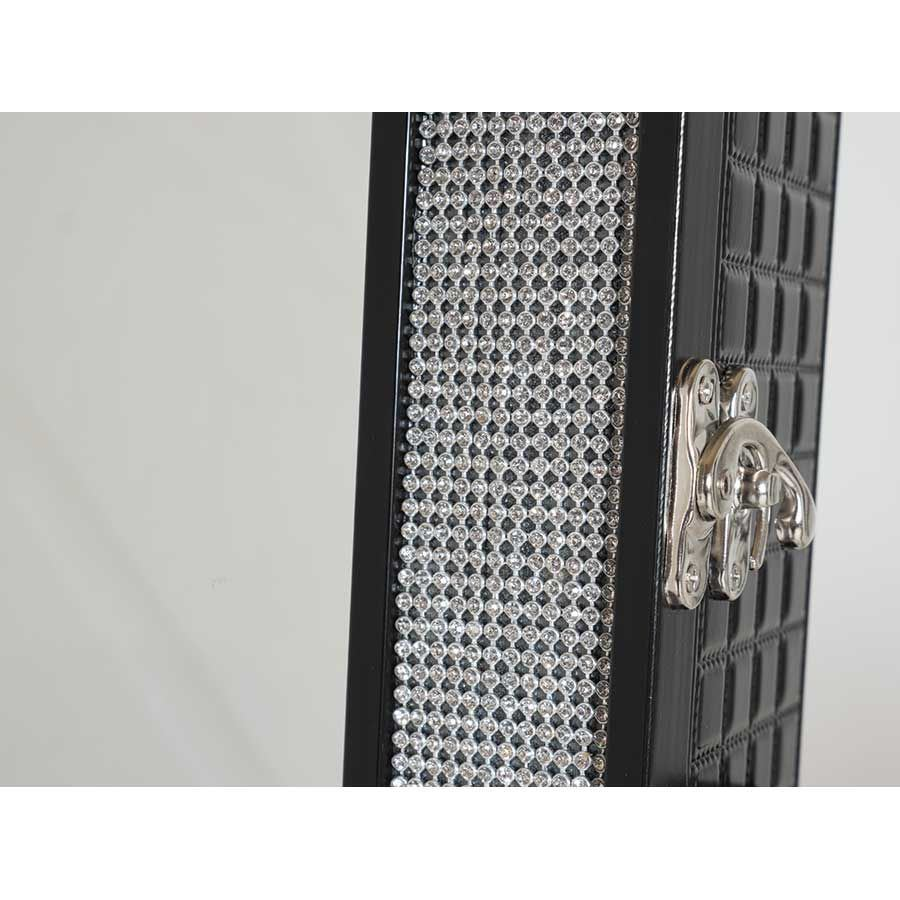 black rhinestone jewelry storage mirror