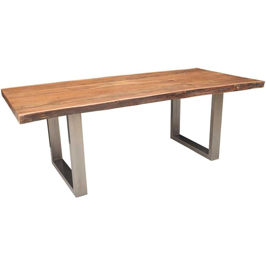 Live edge dining table with steel base afw for Table queens acacia