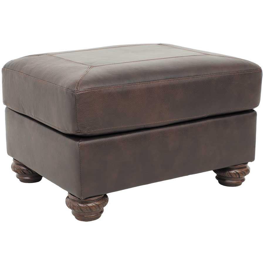Afw Mellwood Walnut Leather Ottoman By Ashley Furniture 6460514