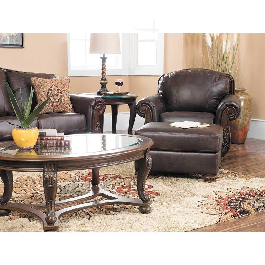 Afw Mellwood Walnut Leather Sofa By Ashley Furniture 6460538