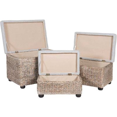 Picture of Set of Three Grey Ottomans With Storage